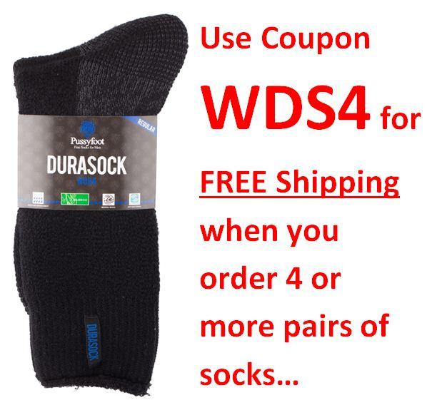 Pussyfoot Durasock Bamboo Wool Black coupon